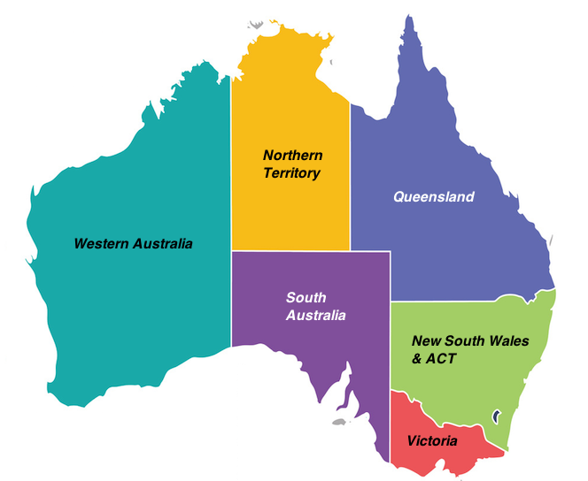 West, East, South and Central Australia